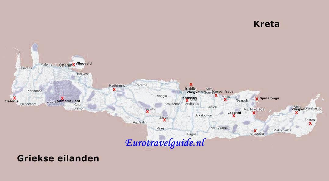 Kaart Van Griekse Eiland Kreta